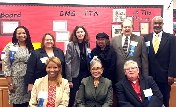 Shown here are judges for the 2015 Rockdale Middle School Oratorical Competition held Nov. 7. Seated are, left to right, Maria Brown, educator and consultant; Rockdale County Clerk of Courts Ruth A. Wilson; Superior Court Judge Robert Mumford; standing, left to right, are, Pam Lamar, executive director of The Arts Academy; Macrae Brennan-Fuller, Rockdale County Public Affairs specialist; Vicki Judd, Department of Driver Services assistant general counsel; Maria Von Dickersohn, radio personality and voice-over artist; Magistrate and Municipal Court Judge Garland Moore; and Cory Thompson, Georgia Piedmont Technical College Marketing director. (Special Photo)